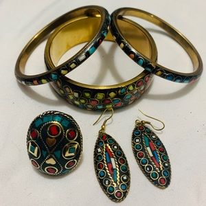 Colorful bangles with earring n ring set